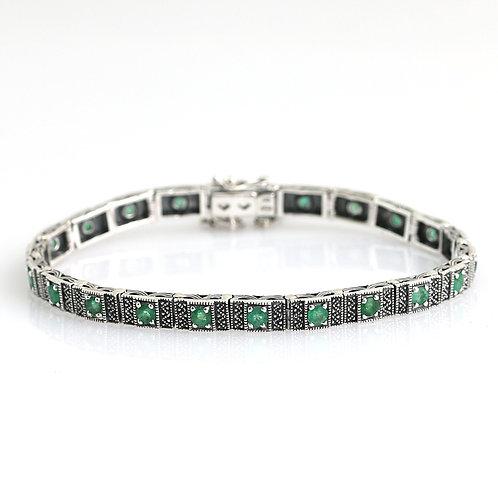 Bracelet En Argent 925° (Emeraudes- Marcassites)