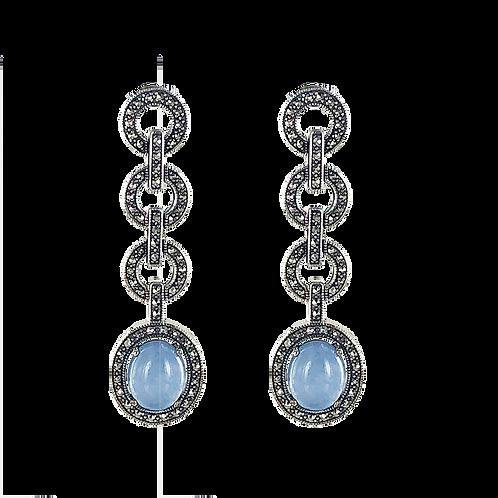 Boucles d'oreilles en Argent 925 (Jade bleu - Marcassites)