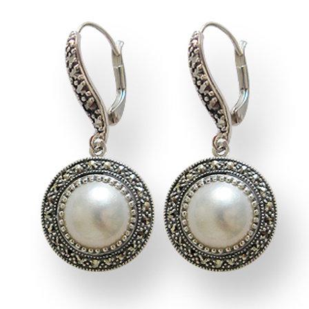 B.O En Argent 925(Perles De Culture Mabé - Marcassites)