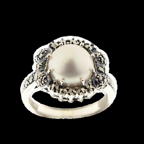 Bague en Argent 925 (Perle de culture - Marcassites)