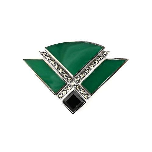 Broche En Argent 925 (Agate verte - Onyx - Marcassites)