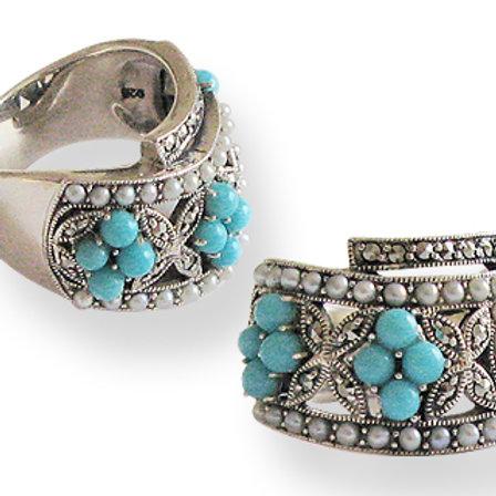 Bague en Argent 925 (Turquoises - Perles de culture - Marcassites)