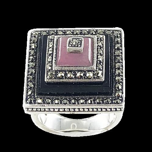 Bague en Argent 925  (Onyx - Jade rose - Marcassites)