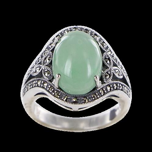 Bague en Argent 925 (Jade vert - Marcassites)