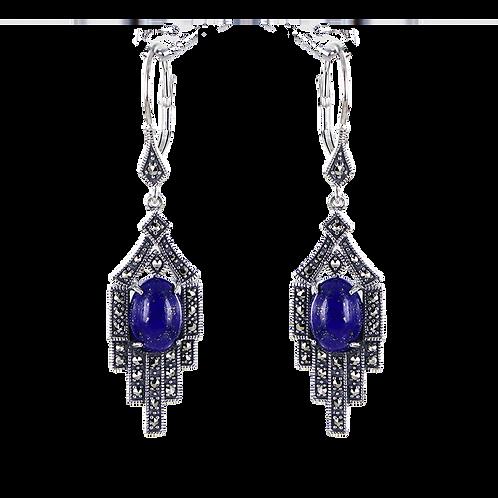 Boucles d'oreilles en Argent 925 (Lapis lazuli - Marcassites)