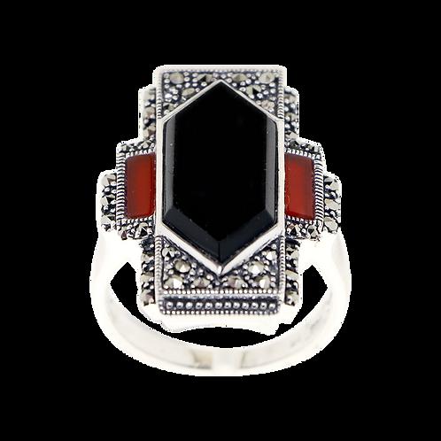 Bague En Argent 925 (Onyx - Cornaline - Marcassites)