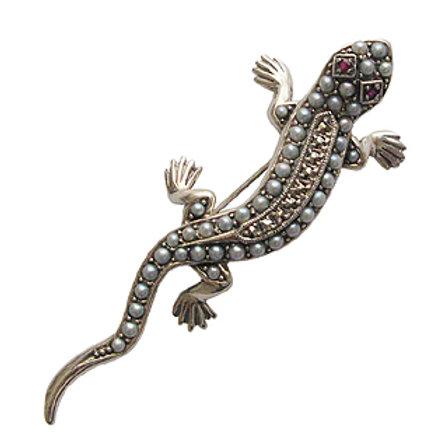 Broche En Argent 925 (Rubis - Perles De Cultures - Marcassites)