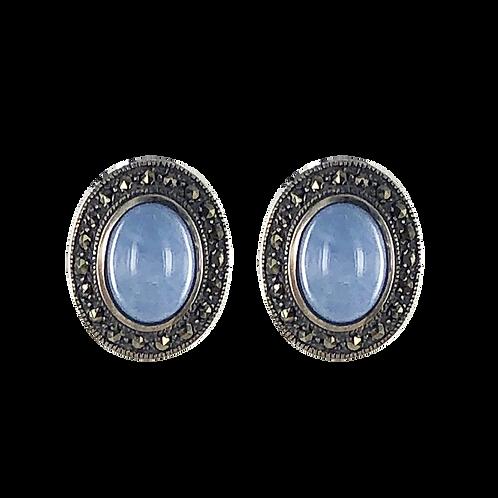 Boucles d'oreille en Argent 925 (Jade bleu - Marcassites)