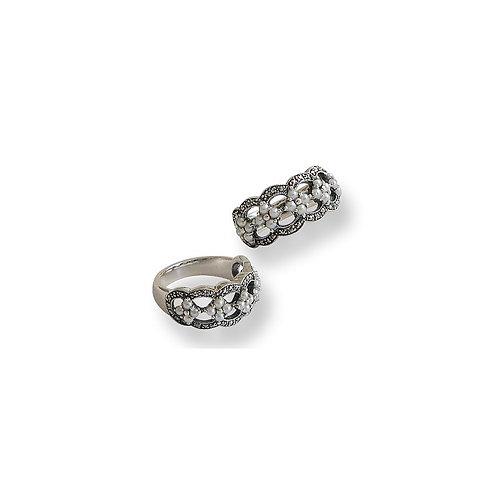 Bague en Argent 925 (Perles de culture - Marcassites)