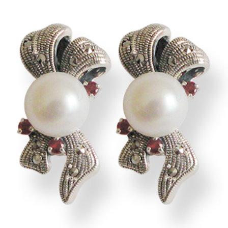 B.O En Argent 925 (Perles De Culture - Grenats - Marcassites)