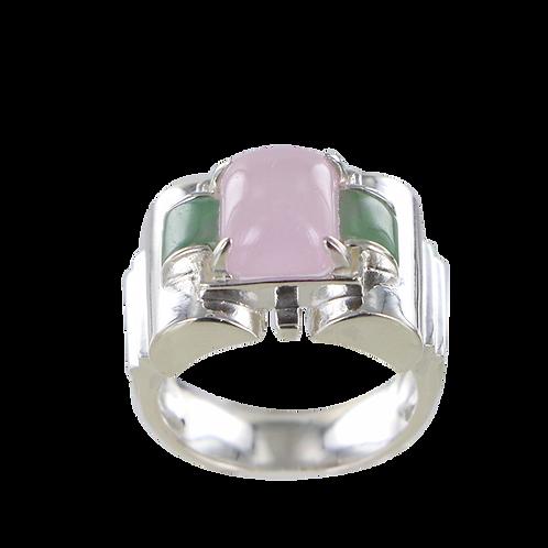 Bague en Argent 925 ( Jade rose - Jade vert - Marcassites)