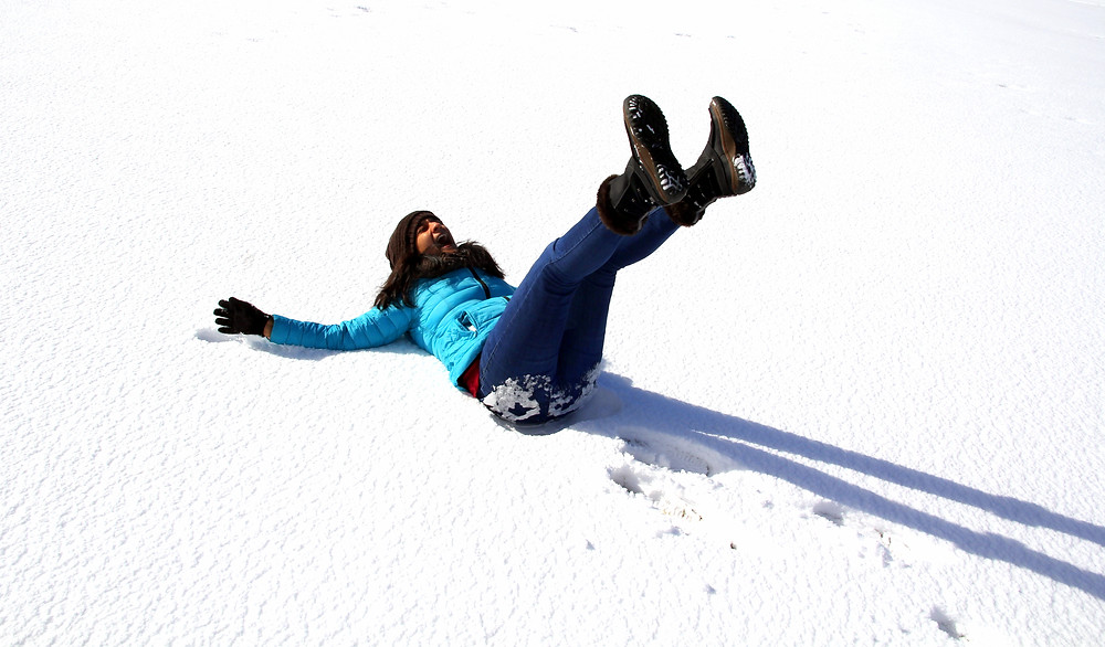 Image of author having some fun in the snow