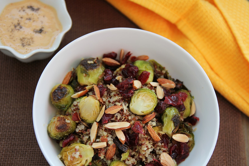 Image of roasted Brussels Sprouts & quinoa salad with a tahinin dressing
