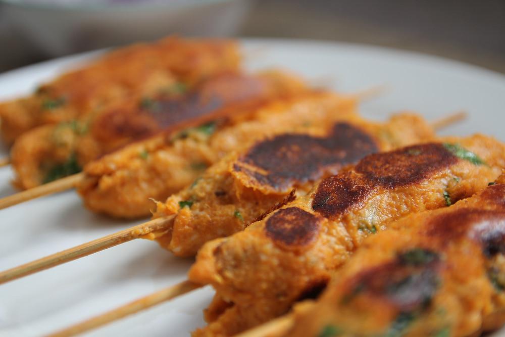 Closeup of kebabs
