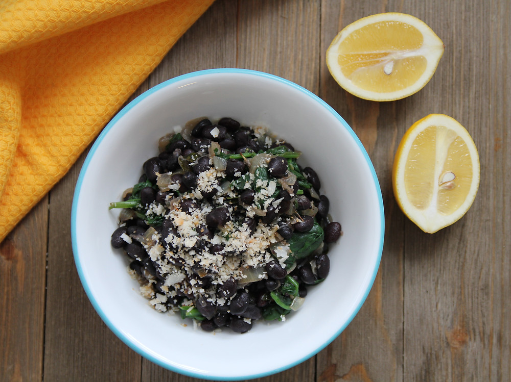 Image of black bean and spinach 'sundal'