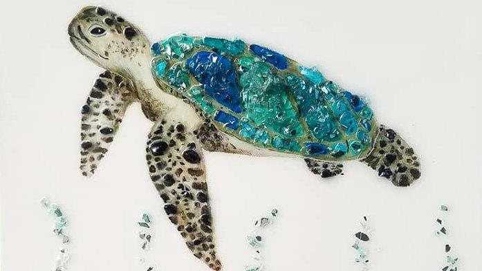 Glass embellished turtle print