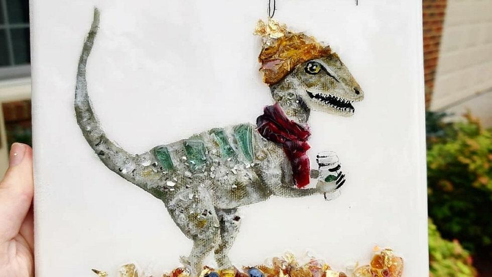 Fallociraptor embellished canvas print