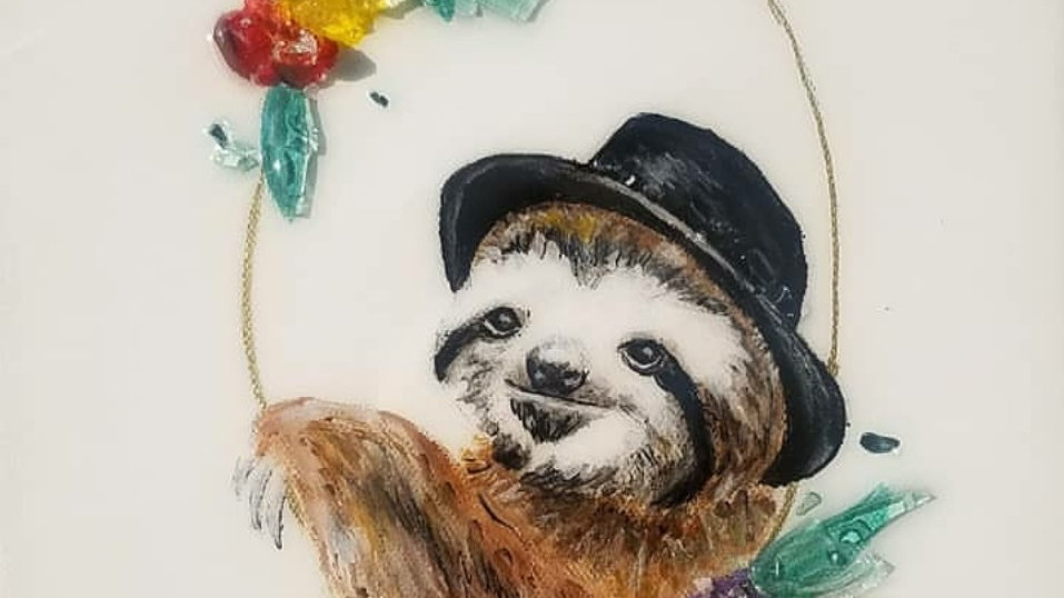Top hat sloth photo paper print