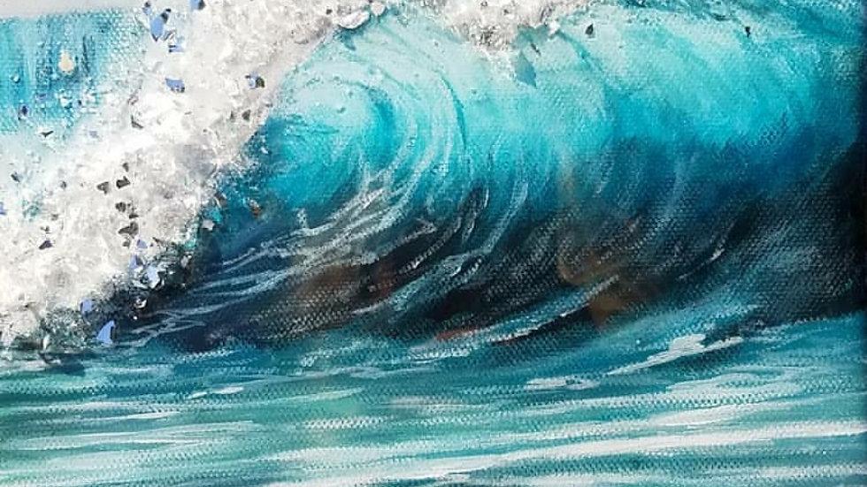 Glass embellished wave print