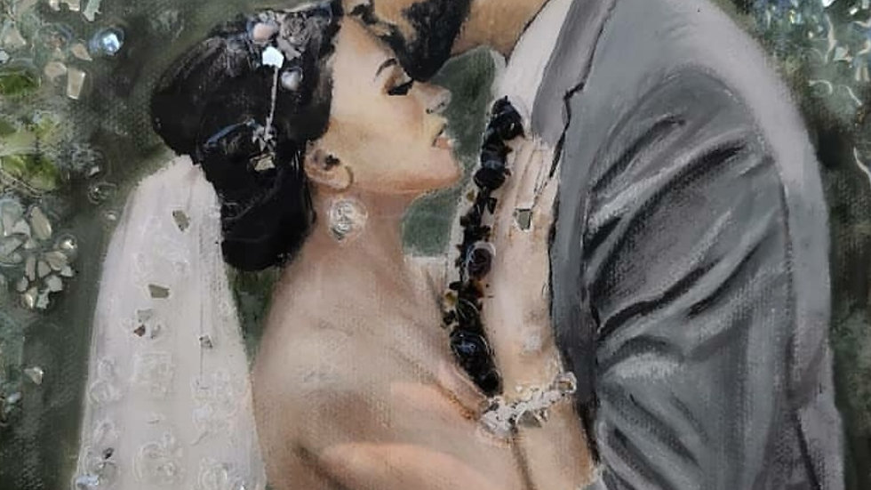 Custom embellished wedding portraits