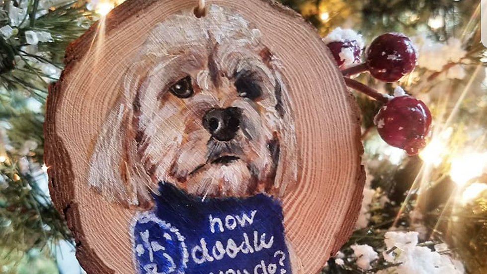 Pet portrait ornaments