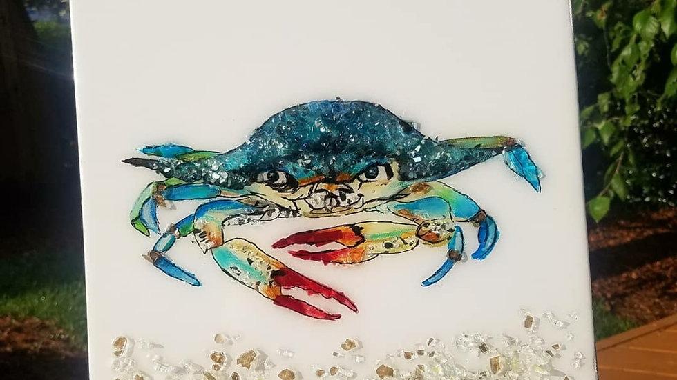 Glass embellished print of original crab painting