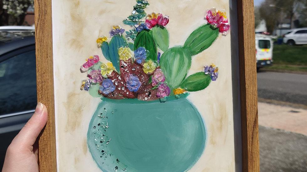 Original framed cactus painting