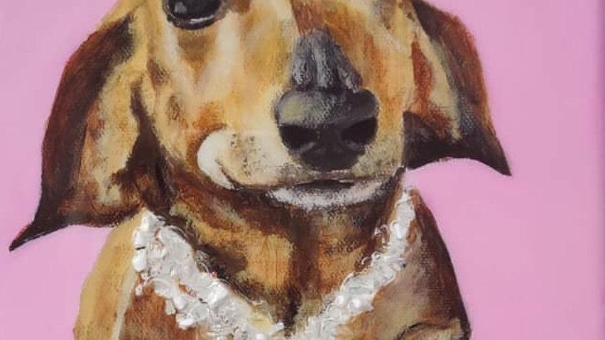 Custom embellished pet portraits