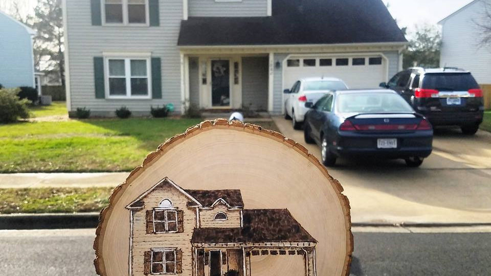 Custom wood burned home on wood slice
