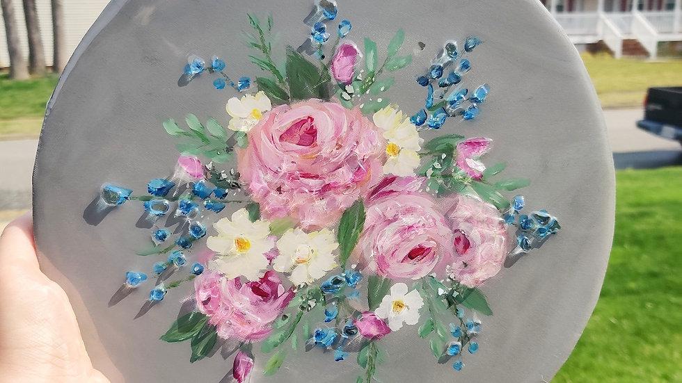 Original round floral painting