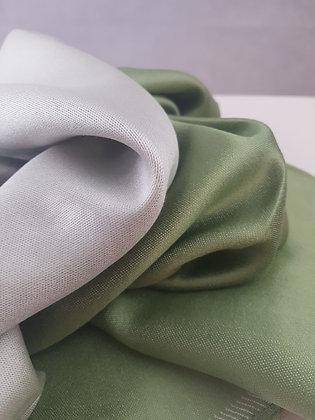 Étole Soie Réversible - Vert Tilleul - Blanc pur