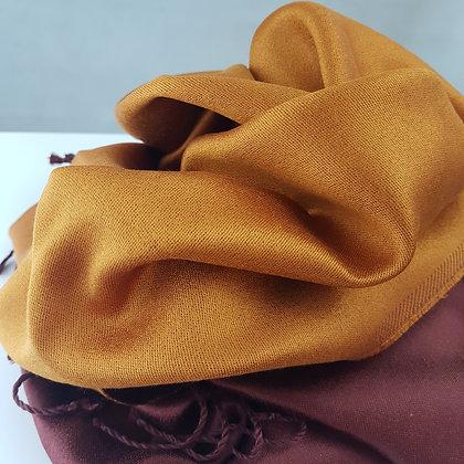 Étole Soie Réversible - Orange dorée - Brun