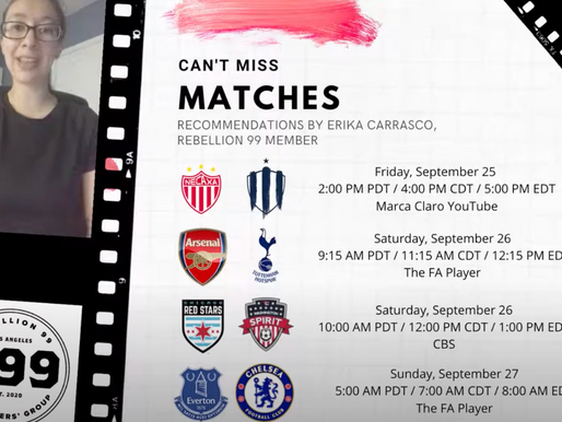 Must-See Matches I September 25-27, 2020