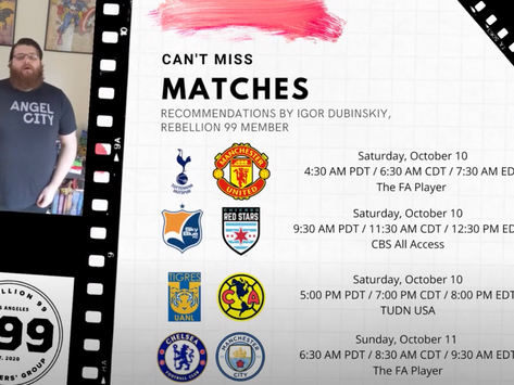 Must-See Matches I October 9-11, 2020