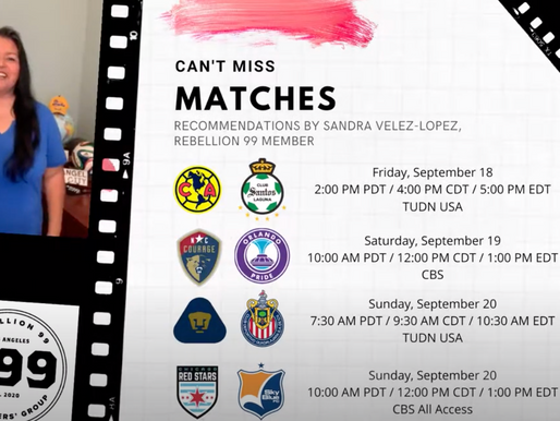 Must-See Matches I September 18-20, 2020
