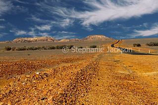 Australian outback landscape and road leading to distant hills - IMG 9186A