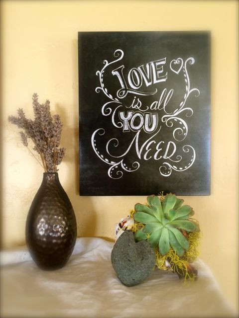 Love is all you need, chalkboard lettering and signs, valentine gift