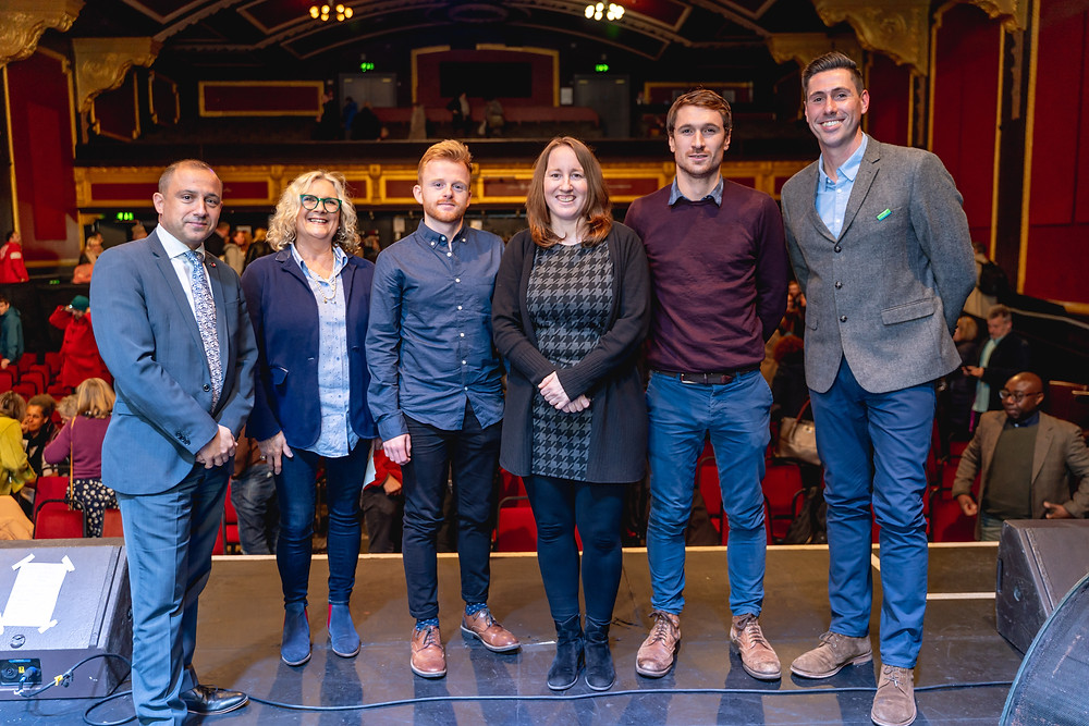 Curo's Victor da Cunha, with filmmakers Joanna Crosse and Luke Taylor, Roanne Wootten from Julian House, DHI's David Walton and Caleb Mallard from Genesis Trust | Photo © Paolo Ferla