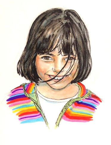 Portrait petite fille colorée