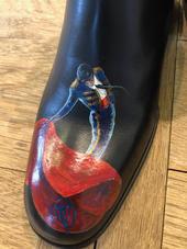 personnalisation chaussures cuir peinture - toreador - taureau