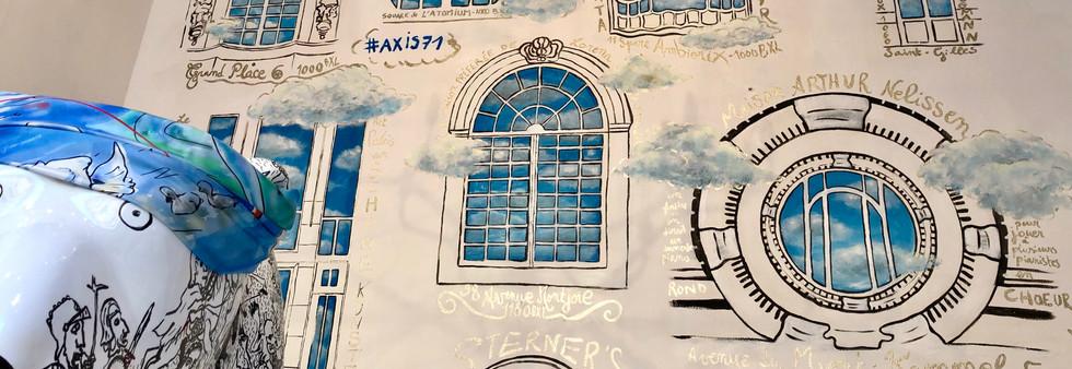 peinture murale fenêtres art nouveau bruxelles rue royale