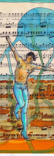 Danseur turquoise et orange