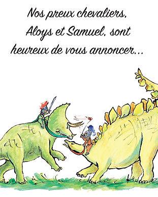faire-part naissance dinosaures chevalier