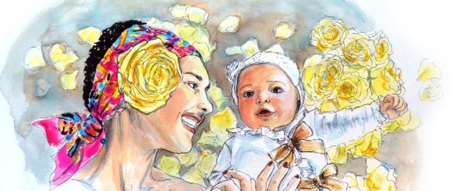portrait femme mère et bébé aquarelle couleurs