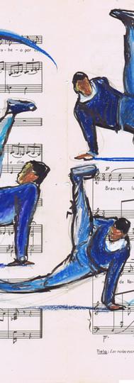 4 danseurs break dance bleu courbes