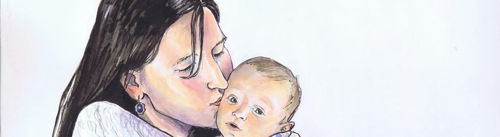 portrait mere et bébé garçon aquarelle couleurs