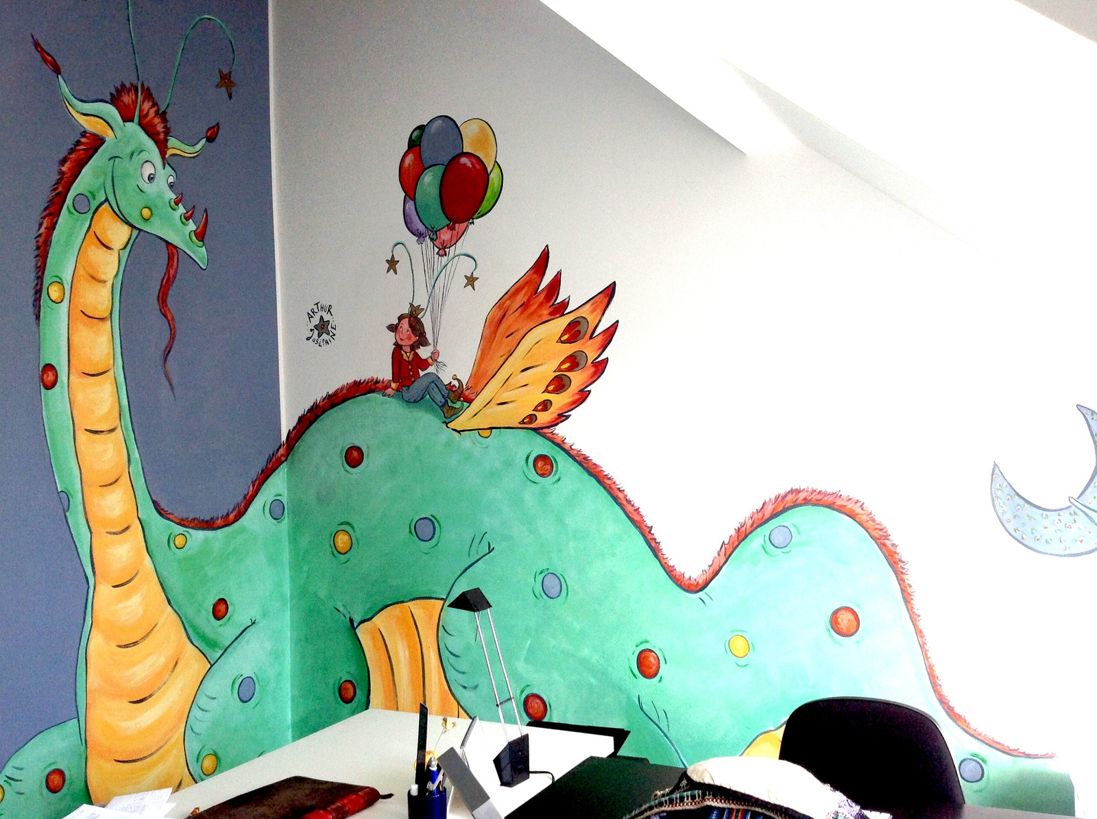 Peinture Murale Sur 2 Murs   Coin   Chambre Du0027enfant Dragon Princesse Jeu  étoiles Ballons Fille Garçon