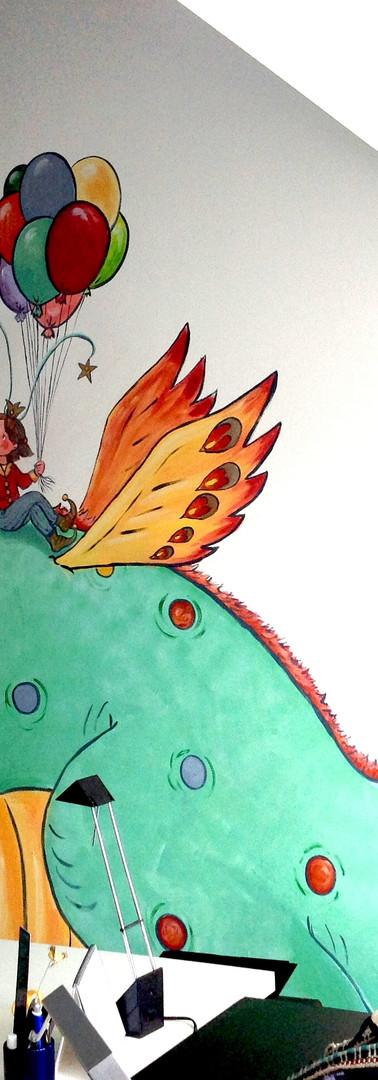 Peinture murale sur 2 murs - coin - chambre d'enfant dragon princesse jeu étoiles ballons fille garçon