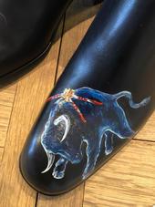 personnalisation chaussures cuir - toreador - taureau