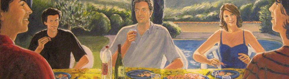 portrait famille peinture à l'huile couleurs
